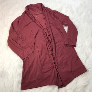 Three Dots Sweaters - Three Dots Heather Red Open Front Cardigan