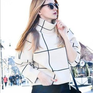 Chicwish Sweaters - Chicwish Grid Turtleneck Sweater in White