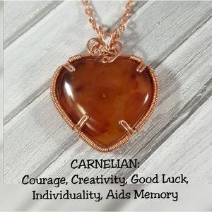 DGwiring Jewelry - Carnelian Copper Necklace Wire Wrapped Handmade