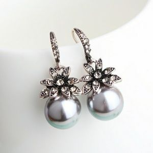 Jewelry - Black Pearl Crystal Drop Earrings