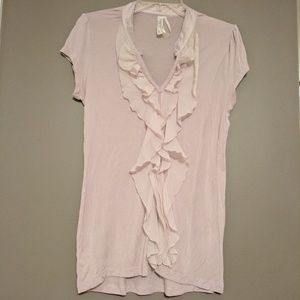 Kische Tops - Super soft tee with ruffle front L