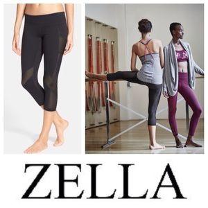 Zella Pants - NEW Zella Fusion mesh-inset crop leggings in black