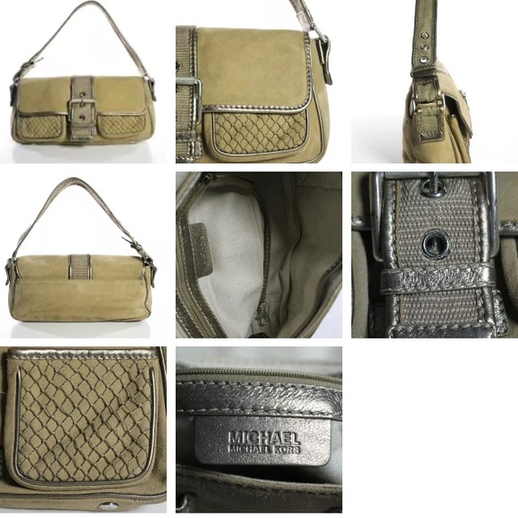 "MICHAEL Michael Kors Handbags - VINTAGE ""ARMY STYLE"" MICHAEL KORS KHAKI & GOLD BAG"