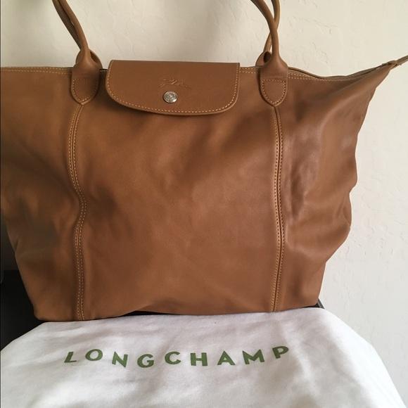 74acce91717d Longchamp le pliage cuir leather handbag natural