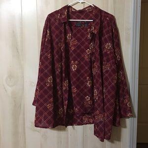 Laura Scott Tops - 2 Pc Burgundy Laura Scott Woman Blouse, Size 22