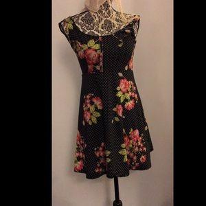 Black floral polka dot rose print dress