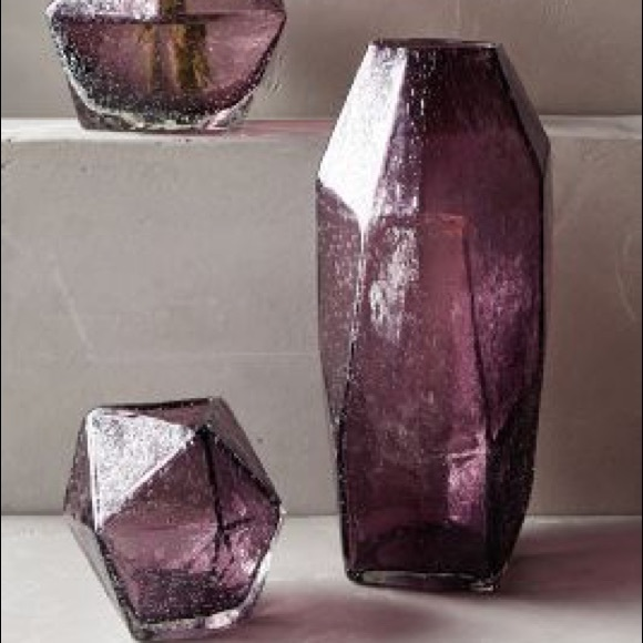 Anthropologie Other Faceted Bubbled Glass Purple Vases Poshmark