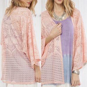 Peach Love California Tops - Gorgeous Lace Kimono