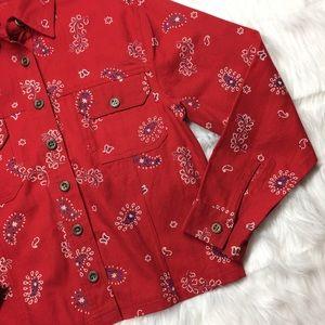 Boston Proper Jackets & Blazers - NWT Boston Proper Red Paisley Bandana Denim Jacket
