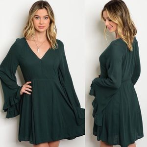 Love Riche Dresses & Skirts - Dark Green Long Bell Sleeves Ruffle Mini Dress
