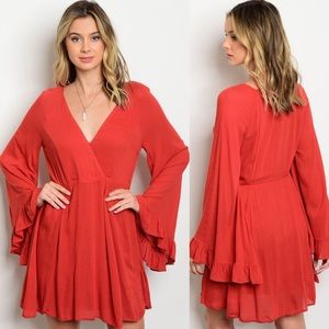 Love Riche Dresses & Skirts - Dark Orange Long Bell Sleeves Ruffle Mini Dress