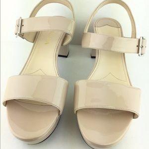 Prada  Patent Leather Block Heel Platform Sandals