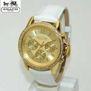 Coach Jewelry - Coach Women Boyfriend White Leather Watch