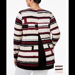 Alfani Tops - Plus size split back geometric print top