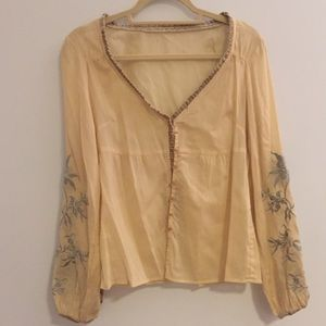 Embroidered Yellow Sheer Blouse from Anthropologie