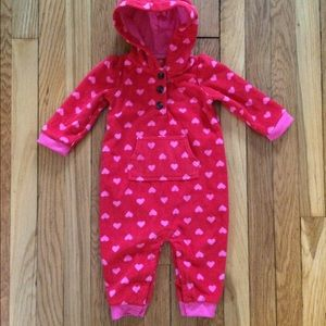 Carter's 9-month red pink hearts hooded fleece