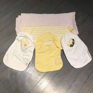 Burt's Bees Baby Other - Bundle 3 bibs red muslin swaddle yellow blanket