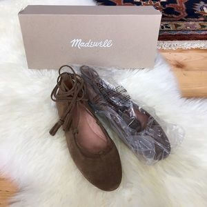 Madewell Shoes - NWT Madewell Inga Lace-Up Suede Flat Darkest Olive