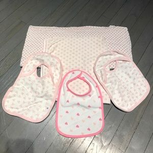 Burt's Bees Baby Other - Bundle of 3 pink white bibs Muslin swaddle blanket