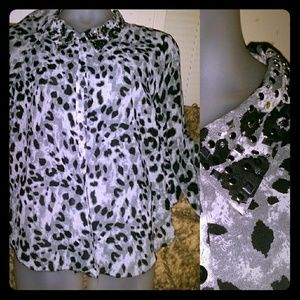 Tops - Leopard button up shirt with bling