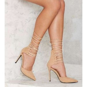 Nasty gal lace up nude heels