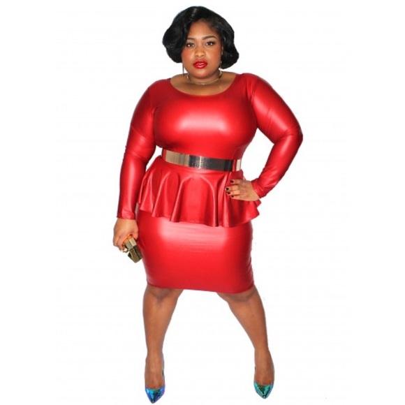 Dresses Red Plus Size Pu Peplum Dress Bnwot Back Zip Poshmark