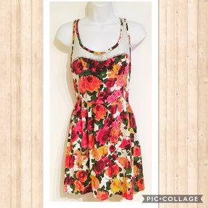 Kirra Dresses & Skirts - Kirra Floral Print Lace Neck Dress