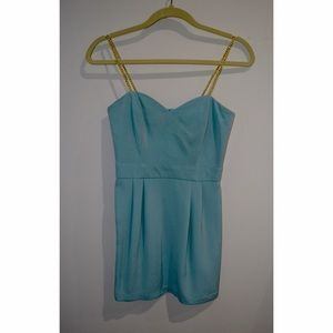 Light blue Naven party dress with gold straps