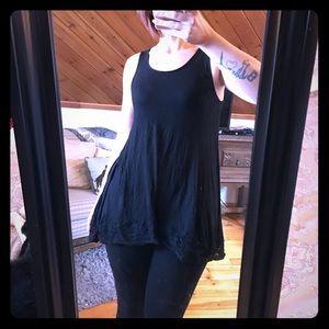 Myths Tops - Black lace hem tunic top XL