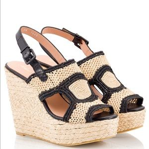 Robert Clergerie Drastic Natural Black Wedge 10 NW