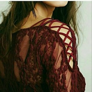 Free People Tops - Free People Merlot Lace Top