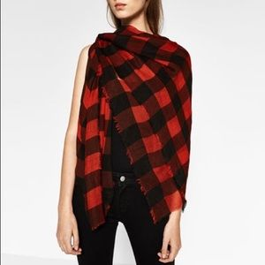 Zara red & black checked scarf