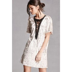 Urban Outfitters Dresses & Skirts - CRUSHED VELVET LACE UP DRESS