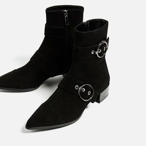Zara leather ankle boots with buckles