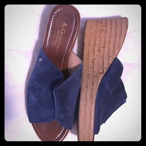 A. Giannetti Shoes - Blue Suede wedged shoes