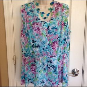 St. John's Bay Tops - Wrap style floral double layer top - Size XL
