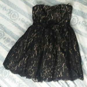 Robert Rodriguez black lace strapless dress