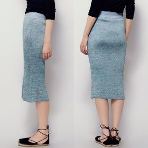 Free People teal stretchy ribbed pencil skirt