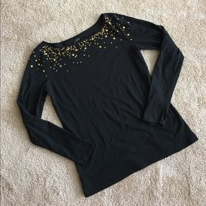 Black & Gold Beaded Top