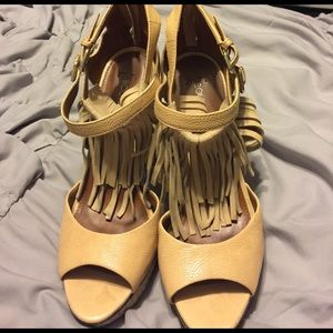 Boutique 9 Shoes - Boutique 9 tan Fringe Peep toe heels