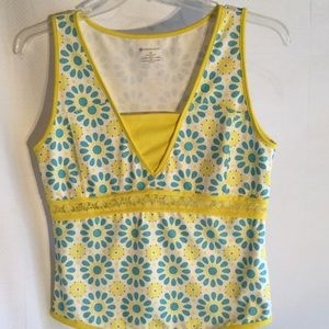 Wimbledon Tops - Ladies workout top yellow and turquoise M