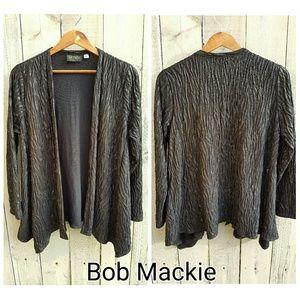 Bob Mackie Sweaters - Bob Mackie Long Sleeve Crinkled Knit Cardigan L