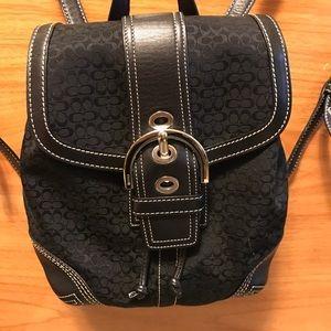 Coach Handbags - Authentic Coach Signature Backpack w/ leather trim