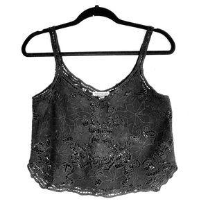 Tiare Hawaii Tops - ✨TIARE HAWAII Very Black Embroidered Crop Top✨