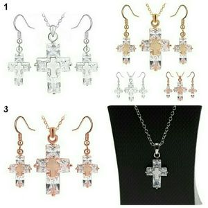 18k Rose gold plated & S925 Cross Necklace Set