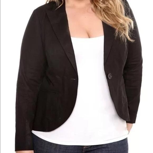 3c56af9efc8d0 Torrid Plus Size 2 Black Linen Blazer Long Sleeve