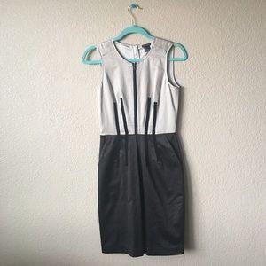 Club Monaco Dresses & Skirts - Club Monaco Gray & Black Sheath Dress Zipper Front