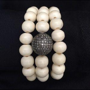 Jewelry - Beautiful Ivory stone and silver/crystal bracelets