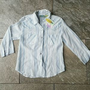 Overdrive Tops - NWT Blue sheer button up