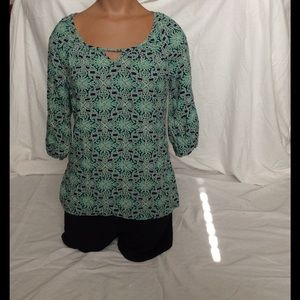 Red Camel Tops - Green/Blue Floral Top